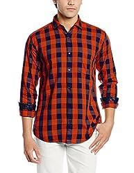 Dennison Men's Casual Shirt (SS-16-396_38_Orange)
