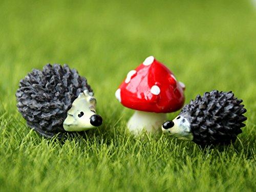 Miniature Garden Fairy Ornament Hedgehog & Mushroom Set