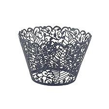 Láser cortar envolturas de la magdalena envuelve decoración casos torta hoja vid (12, Black)