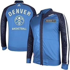 Denver Nuggets jacket : adidas Denver Nuggets On-Court Full Zip Track Jacket - Navy Blue/Powder Blue