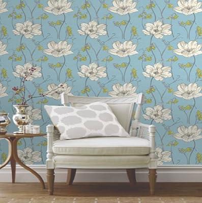 Yasmin Blue Floral Blossom Flower Natural Print Luxury Wallpaper