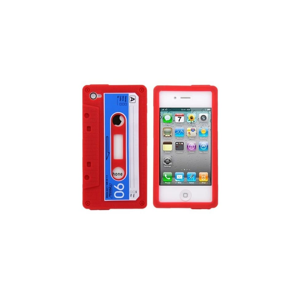 Red Cassette Tape Design Soft Silicone Skin Gel Cover Case for Verizon AT&T Sprint Apple Iphone 4 4S + Microfiber Pouch Bag