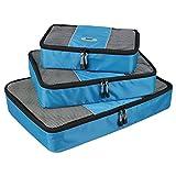 Travel Luggage Organizer Bags Packing Cubes - 3pc Set (blue)