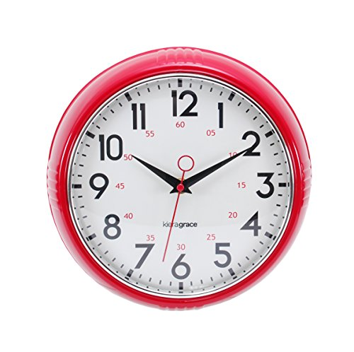 Kiera Grace Retro Wall Clock with Chrome Bezel and Convex Glass Lens, 9.5-Inch, 2.5-Inch Deep, Red (Retro Wall Clock Red compare prices)