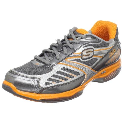 Skechers Women's Shape-Ups Toners-Ultra-Fit Sneaker,Charcoal/Orange,9.5 M US