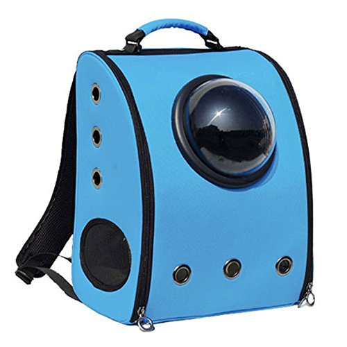 Chunnuan Shop Pet Dog Cat Puppy Carrier Traveler Bubble Backpack Travel Shoulder Bag Dog Carrier Travel Sling Bag Small Dog Backpack (Blue)