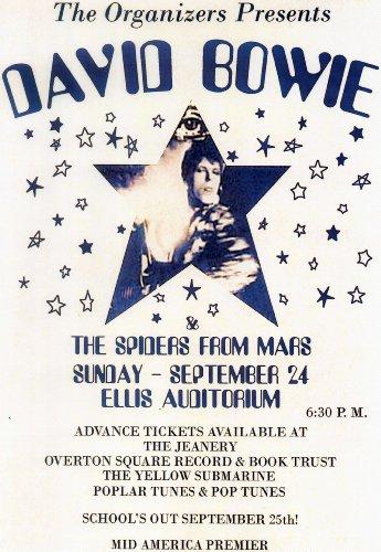 Poster locandina del concerto di David Bowie con The Spiders from Mars presso l'Ellis Auditorium, 24settembre 1972, dimensioni approssimative 420x 297mm