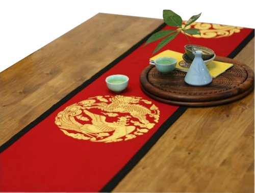 "75"" By 13""Red Ryuho Chinese Folk Art Table Runner Traditional Cotton Table-Cloth"