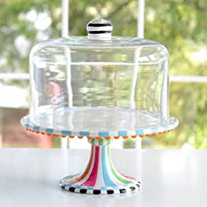 Glitterville covered birthday pedestal cake for Colored glass cake stand