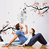 ORDERIN Wall Decal Hot Sale Peach Blossom Removable Mural Wall Stickers for Television Background Sofa Decoration Home Decor