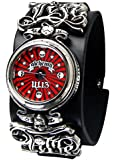 Alchemy Gothic Ul13 Mens Life Time Tattoo Style Pewter Time Piece On Leather Strap Wrist Watch Silver