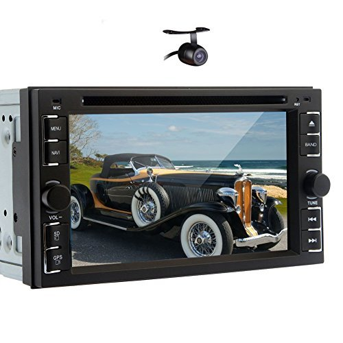 6.2-Inch HD Universal Double DIN 2DIN Indash Car Stereo Video DVD/MP4/MP3/CD Player With Hands-Free Bluetooth, ATV,Touchscreen, iPOD,RDS,USB/SD,TV, Aux-In, Steering Wheel Control+Camera