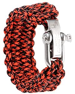 Emergency Quick Deploy - The Friendly Swede Premium 500 lb Paracord Survival Bracelet with Silver Stainless Steel D Shackle - Adjustable Size Fits 6.5-7.5 Inch Wrists - In Retail Packaging - Lifetime Warranty (Red Black Camo, 9-inch)