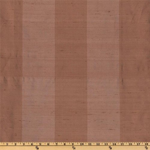54'' Wide Dupioni Silk Awning Stripe Brown/Taupe Fabric By The Yard