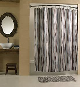 Chic Brown And Blue Wavy Stripe Fabric Shower Curtain 70 In W