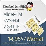 DeutschlandSIM PremiumSIM LTE M [SIM, Micro-SIM und Nano-SIM] 24 Monate Vertragslaufzeit (2 GB LTE Daten-Flat mit max. 50 MBit/s, Telefonie-Flat, SMS-Flat, 14,95 Euro/Monat in den ersten 12 Monaten, danach 19,95 / Monat) O2-Netz