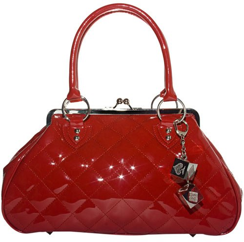 Lux De Ville Sin City Kiss Lock Bag Patent Vinyl Vegan Handbag Rockabilly Retro