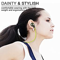 Bluetooth Headphones, HC Wireless Bluetooth Earbuds Headset Earphones Noise Cancelling,Running, Exercise,Hiking Sports;Sweatproof. Suitable for IOS & Android Devices(Green)
