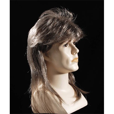 Star Power Blonde Highlighted Mullet Mens Halloween Wig Brown One Size