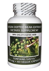 SVETOL® Green Coffee Bean Extract 50%  Acid - Chlorogenic 400mg Zero Fillers, Binders or Artifical Ingredients (1 Bottle)