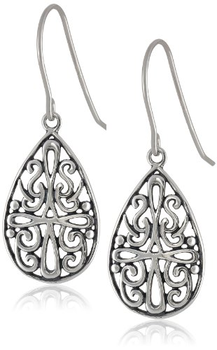 Sterling Silver Celtic Rectangle Drop Earrings