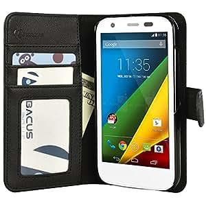 Abacus24-7 [PocketBook] Vegan Leather Wallet Case Flip Cover for Motorola Moto G, Black