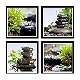 HLJ Arts Zen Canvas Print Black Edges Contemporary Stone Giclee Canvas Picture Prints Oil Painting for Home and Office Wall Art Decor 12x12inch 4pcs/set