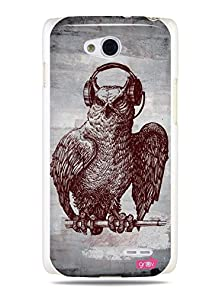 """buy Grüv Premium Case - """"Funky Music Headphones Owl"""" Design - Best Quality Designer Print On White Hard Cover - For Lg Optimus L90 W7"""