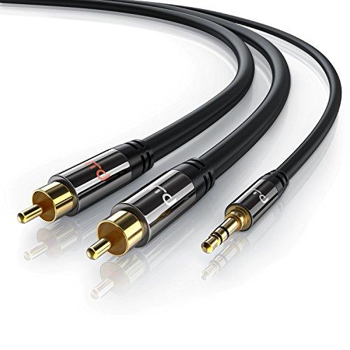 Primewire-1m-Klinke-35mm-zu-2x-Cinch-Y-Kabel-Metall-Stecker-vergoldet-AUX-Eingnge-Audio-35mm-Klinken-Stecker-zu-2x-Cinch-RCA-Stecker-Metall-Stecker-vergoldet-doppelte-Schirmung