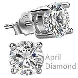 Feramox Sterling Silver Round Cubic Zirconia Diamond Birthstone Stud Earrings for Women April
