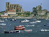 Moored Boats and the 12th Century Church of Santa Maria, Castro Urdiales, Cantabria, Spain Photographic Poster Print by Maxwell Duncan, 32x24