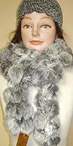 Grey Color Luxurious Rabbit Fur Scarf Neck Warmer and Skullcap