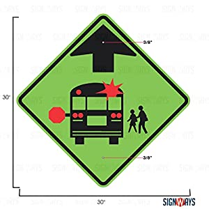 School Bus Stop Ahead Sign, School Bus Signs, S3-1, 30