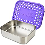 LunchBots Uno Reusable Stainless Steel Lunch Container, Stainless Steel Lid, Purple Dots Cover, Dishwasher Safe