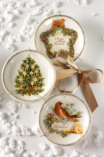 Vintage Christmas Plate Ornaments – Set Of 3, SET OF THREE, ASSORTED