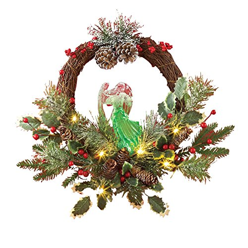 Lighted Angel Holiday Evergreen Wreath