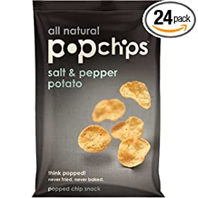 Popchips Salt & Pepper Potato Chips, 0.8-Ounce Single Serve Bags (Pack of 24)