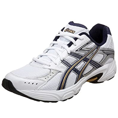 ASICS Men's GEL-Strike 2 Running Shoe,White/Navy/Gold,8 D US