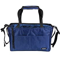 Damero Insert Organizer (Sewn to the Bottom) for Women's Bag / Diaper Bag with Handles and Stroller Straps (Dark Blue)