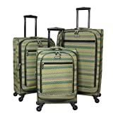 Jourdan Travelware Chevron Series 3-Piece Spinner Upright Luggage Set - Green
