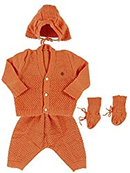 Woollen Sweater Full Suit (0-6 Months) (Brown)