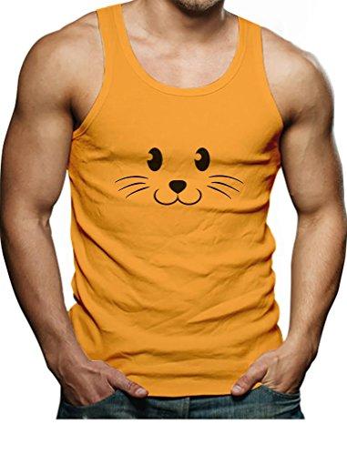 [TeeStars - Cute Face Halloween Easy Costume Singlet Medium Orange] (Easy Cute Teenage Halloween Costumes)