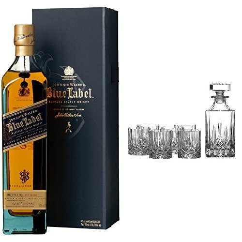 discount duty free Bundles: Johnnie Walker Blue Label Blended Scotch Whisky 70cl and Royal Doulton Crystal Decanter Seasons Set of 7