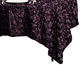LinenTablecloth Rosette Satin Square Overlay Tablecloth, 85-Inch, Eggplant