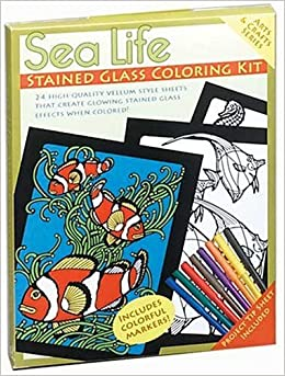 Sea life stained glass coloring kit arts and crafts for Sea life arts and crafts