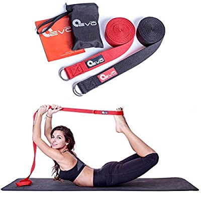 Yoga Strap 8 Foot By Yoga EVO + Carrying Bag and Online Video Poses and Stretches - 100% Pure Double Webbing Cotton for Best Grip, Anti Slip Metal D-Ring