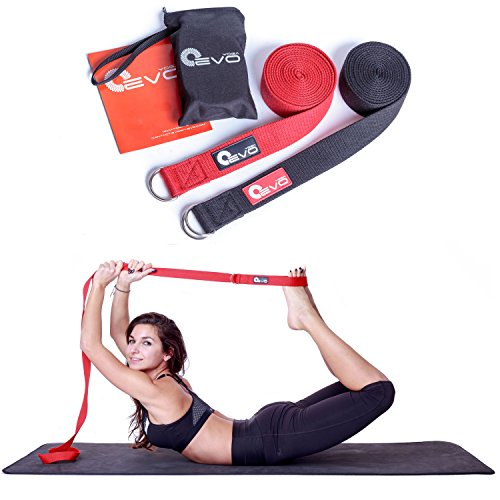 Yoga Strap 8 Foot By Yoga EVO - 100% Pure Double Webbing Cotton for Best Grip, Anti Slip Metal D Ring + Carrying Bag and Online Video Poses and Stretches Best for Hot Mat Practices, Beginner Friendly