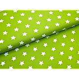 0,5m Stoff Sterne groß in hellgrün-weiß Meterware Motivgröße 2cm