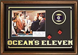 Ocean\'s Eleven Rat Pack. Billiard Room Movie Memorabilia. Photo, Ball, Chalk. Professionally Framed in the Custom Made Shadow Box Real Wood Frame (21.25 x 15.25)