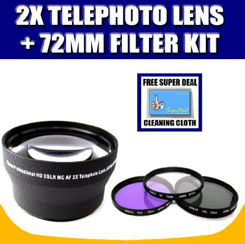 2x Digital Telephoto Professional Series Lens (72MM) For Canon XSi, Digital Rebel with Exclusive FREE Complimentary Super Deal Micro Fiber Lens Cleaning Cloth2x Digital Telephoto Professional Series Lens (72MM) For Canon XSi, Digital Rebel with Exclusive FREE Complimentary Super Deal Micro Fiber Lens Cleaning Cloth